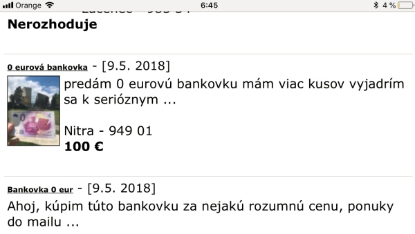 0 EUR bankovka na BAzoš.sk